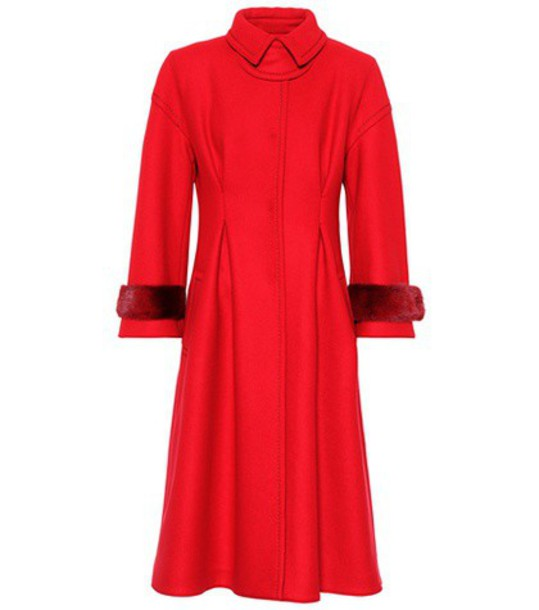 Fendi coat fur wool red