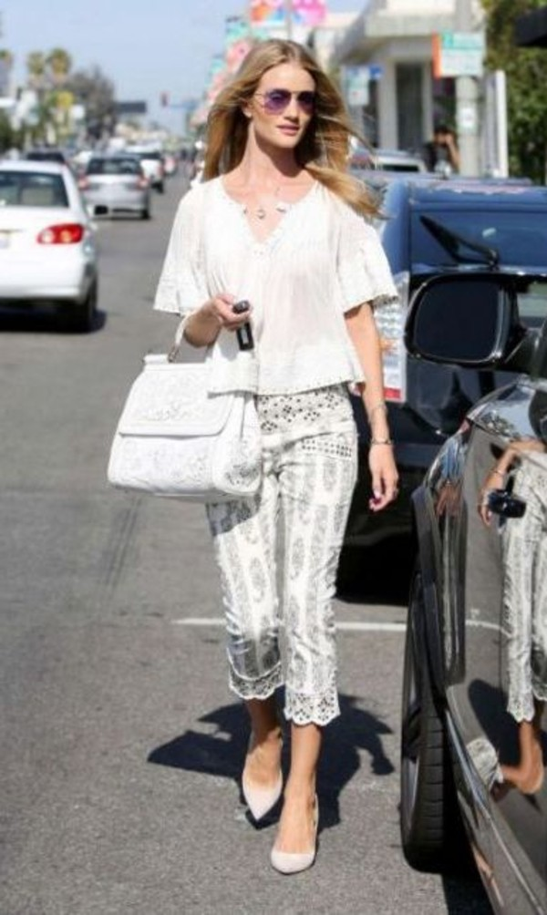 top rosie huntington-whiteley pants bag shoes