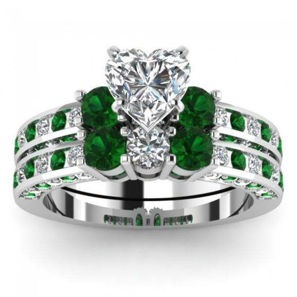 jewels jewelry evolees women fashion ring set emerald bridal