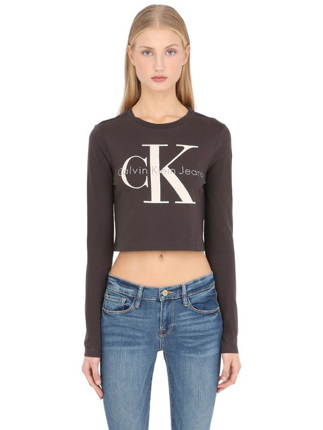 a3d83ddd732f2 Calvin Klein Jeans CALVIN KLEIN JEANS True Icon Cropped Long Sleeve T-shirt  in black   grey