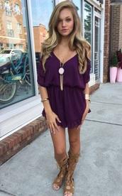 romper,cold shoulder,purple,cute
