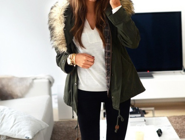 Jacket: short parka, parka, fur, warm - Wheretoget