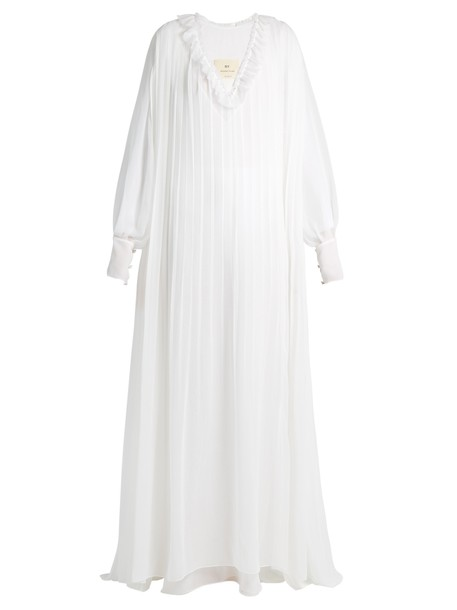 By. Bonnie Young gown pleated ruffle silk white dress