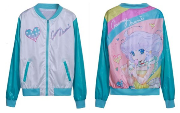jacket kawaii blue pink blue and pink anime japan colorful cute