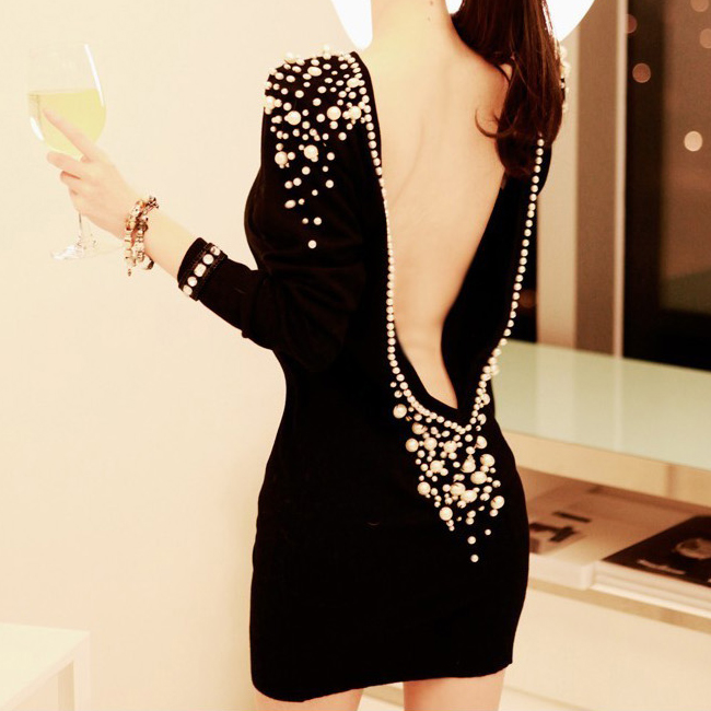 Hot Lady Sexy Embellished Luxury Pearls Beaded Long Sleeve Backless Mini Dress J | eBay