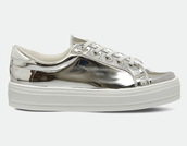shoes,silver sneakers,metallic shoes,platform sneakers
