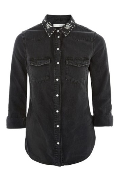Topshop shirt denim shirt denim black top