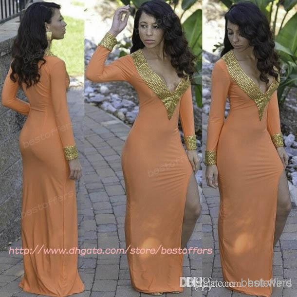 Discount sheath column front side split long sleeves prom online with $121.47/piece