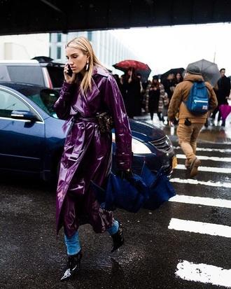 coat leather coat black boots purple streetstyle denim jeans blue jeans boots