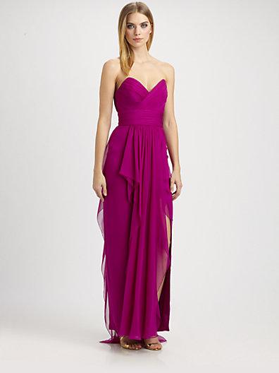 by Marchesa - Strapless Silk Chiffon Gown - Saks.com