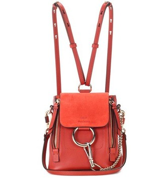 mini backpack suede backpack leather suede red bag