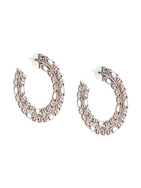dannijo women earrings silver grey metallic jewels