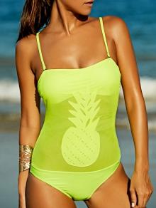 Trendy Pineapple Pattern Bandeau One-Piece Women's Swimsuit