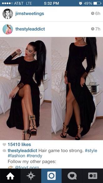 dress black high low long sleeves