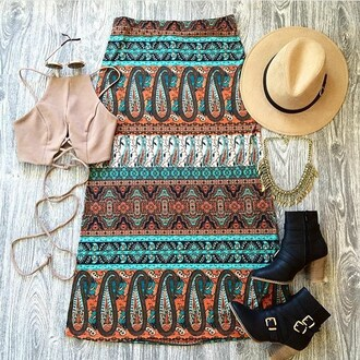 skirt belle xo long maxi maxi skirt tribal pattern aztec print design blue multi color fashion winter outfits fall outfits summer style cute