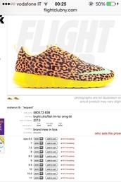 shoes,nike,nike roshe run,nike shoes with leopard print