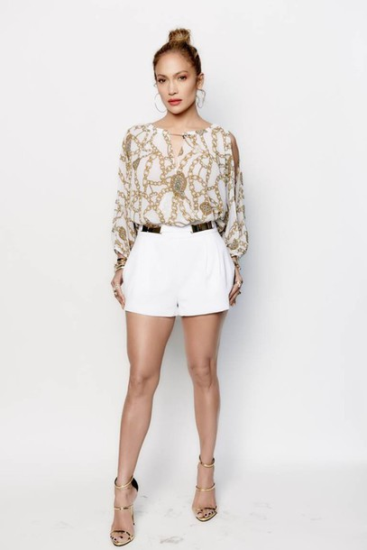 Shorts Jennifer Lopez Blouse Sandals Shoes Gold Sandals