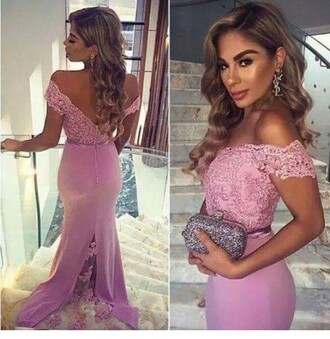 dress purple prom dress cute sexy love beautiful prom prom gown off the shoulder pink lavendar lace lace dress elegant dress prom 2016 light pink prom dress mermaid prom dress party dress lilac purple prom dress mermaid maxi pink dress debs dress