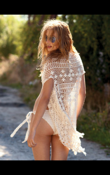 shirt white oversized oversized crochet sweater lace beach summer beach cover up
