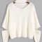 Ivory choker neck sweater with sleeve zip detail -shein(sheinside)