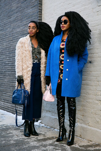 pants nyfw 2017 fashion week 2017 fashion week streetstyle blue prom dress culottes denim culottes shirt printed shirt bag blue bag coat white coat fuzzy coat white fluffy coat double buckle belt boots black boots ankle boots vinyl over the knee boots over the knee thigh high boots thigh highs thigh-high boots blue coat mini dress floral floral dress sunglasses round sunglasses