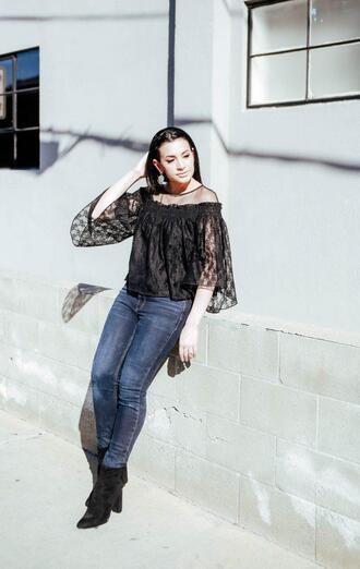 hashtagfablife blogger top jeans shoes jewels spring outfits black blouse ankle boots