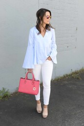 live more beautifully,blogger,jewels,bag,blue shirt,bell sleeves,long sleeves,white jeans,pink bag,nude heels