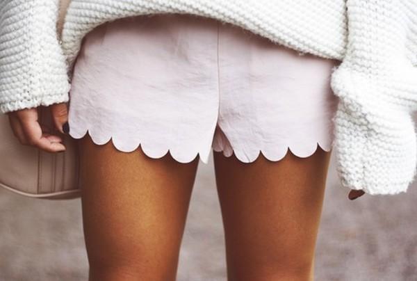 shorts white shorts scallop shorts scalloped edges