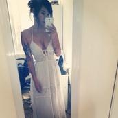 dress,white,lace,trnsparent,hippie,girl,boho,bohemian,v neck,plunge neckline,summer,long,maxi,women,vintage,waist