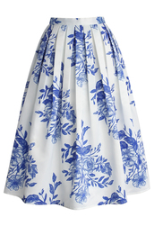 skirt,chicwish,chicwish.com,pleated midi skirt,floral midi skirt,blue floral print