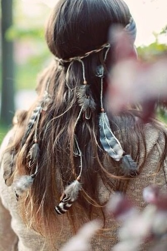 feathers hair accessory jewels summer beauty headband headpiece bohemian boho hippie feather hair