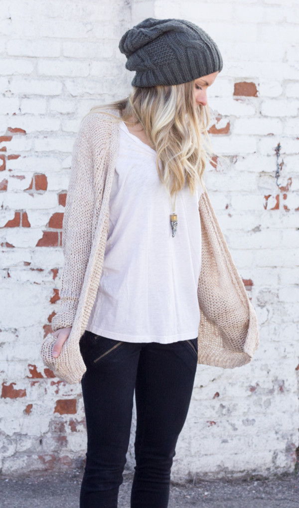 sweater beanie hat long sleeves cardigan knit shirt top