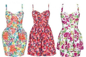 dress floral pink red pretty cute peplum pockets green white yellow straps