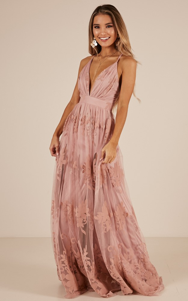 f4e6112de465 Promenade maxi dress in blush Produced By SHOWPO
