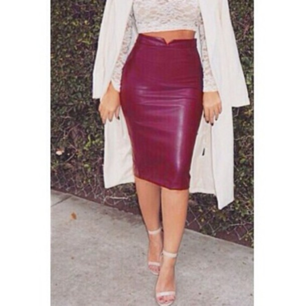skirt burgundy wine red burgundy leather
