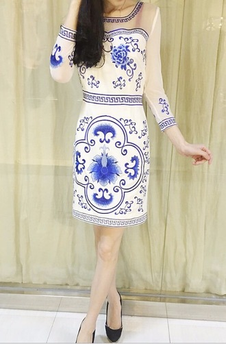dress white dress embroidered dress white and blue dress