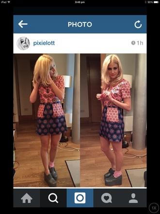 dress starburst pattern retro pixie lott pink dress blue dress