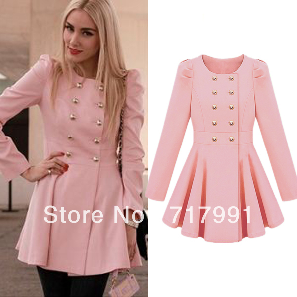 Shipping Latest Fashion Pink Long Sleeve Double Breasted Flare Hem ...