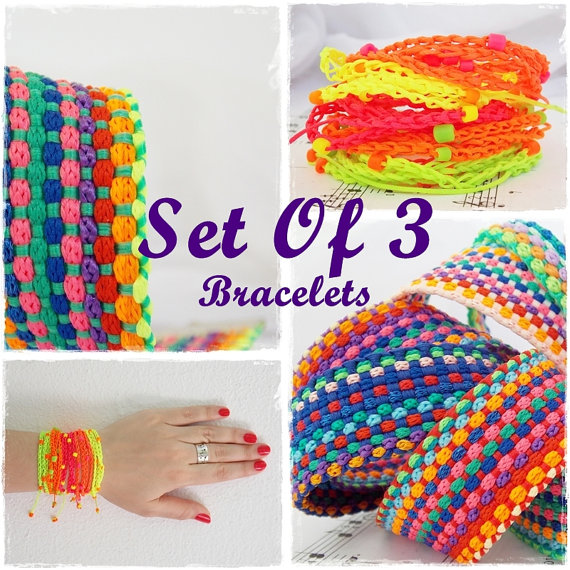Neon Friendship Bracelets Wrap Rainbow by ChrisOsCreations on Etsy