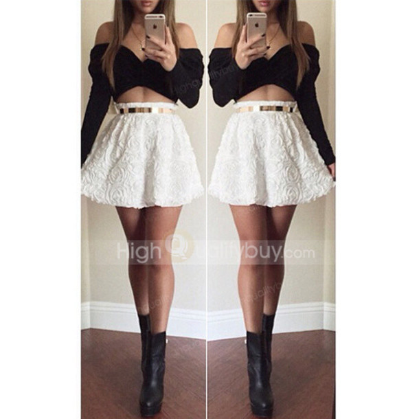 7cba88d814fd skirt, white, black, black and white, skirt set, black top, white ...