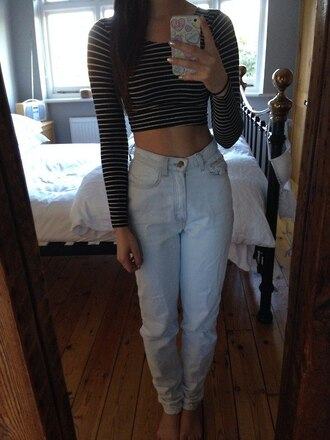 jeans oversized light stripy top shirt