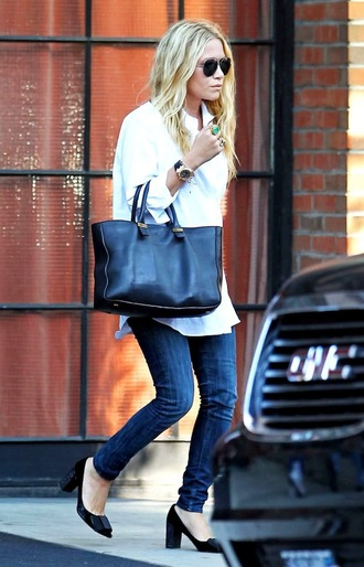 olsen sisters blogger shirt shoes jeans sunglasses bag pumps ashley olsen