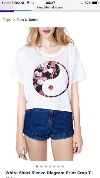t-shirt shirt white yin yang fashion style trendy cool summer floral spring beautifulhalo