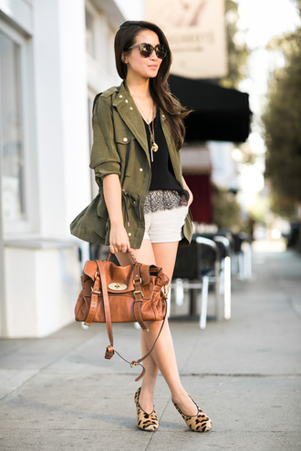 wendy's lookbook blogger top jacket bag khaki necklace satchel bag shoes