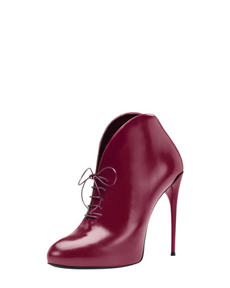 Gucci Lace-Up Cutaway Bootie, Burgundy - Neiman Marcus