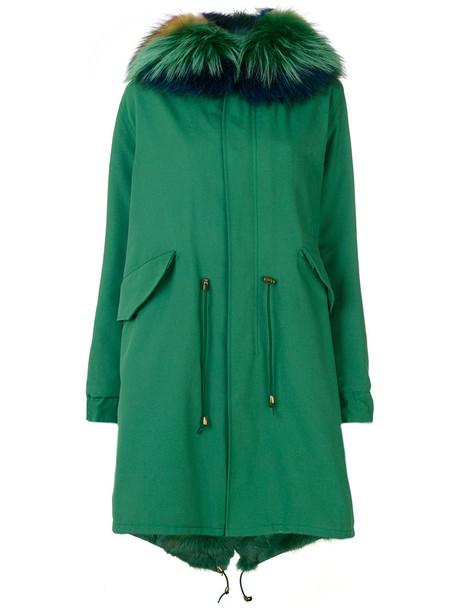 Furs66 parka vintage fur fox women leather cotton green coat