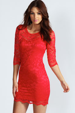 Nicole Long Sleeve Lace Bodycon Dress at boohoo.com