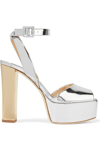 sandals platform sandals silver leather shoes