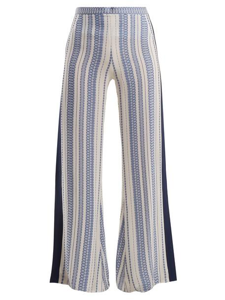 ZEUS + DIONE jacquard geometric silk white pants