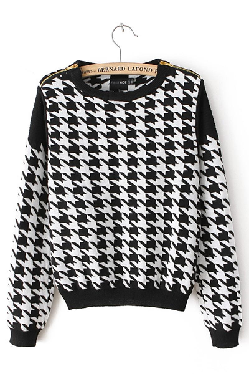 Swallow Grid Round Neck Long Sleeve Loose Knit Sweater,Cheap in Wendybox.com